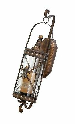 Deco 79 68391 Metal Glass Candle Sconce  20 by 7-Inch