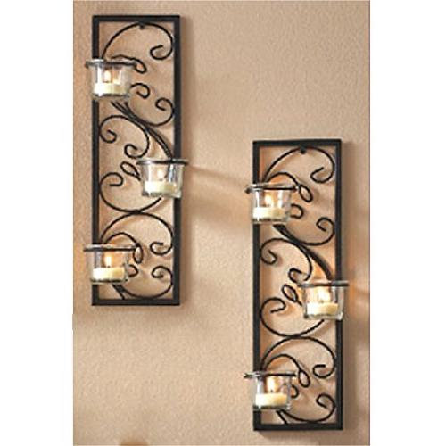 """Hosley Set 13.75"""" High Tealight Wall Sconce. Handmade by Artisans. Gift for Party, LED Votive Candle Gardens, Reiki O3"""