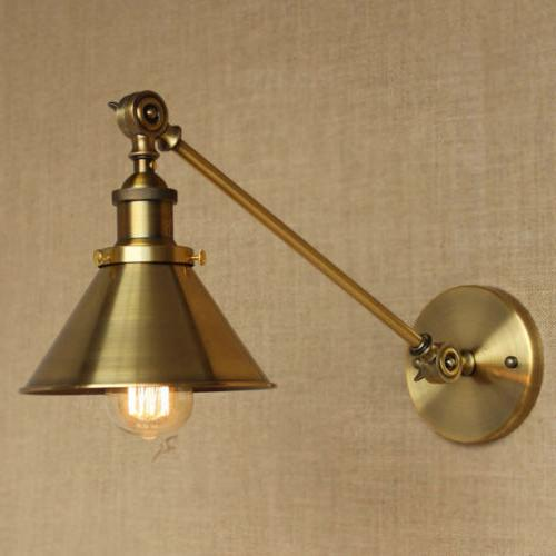 Adjustable Brass Finish Wall Sconce Industrial Shade Wall La