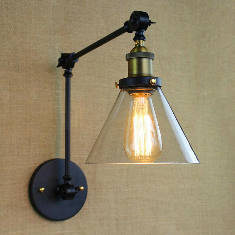 adjustable industrial swing arm wall sconce light