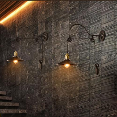 Industrial Adjustable Loft Pulley Wall Sconce Mounted Light