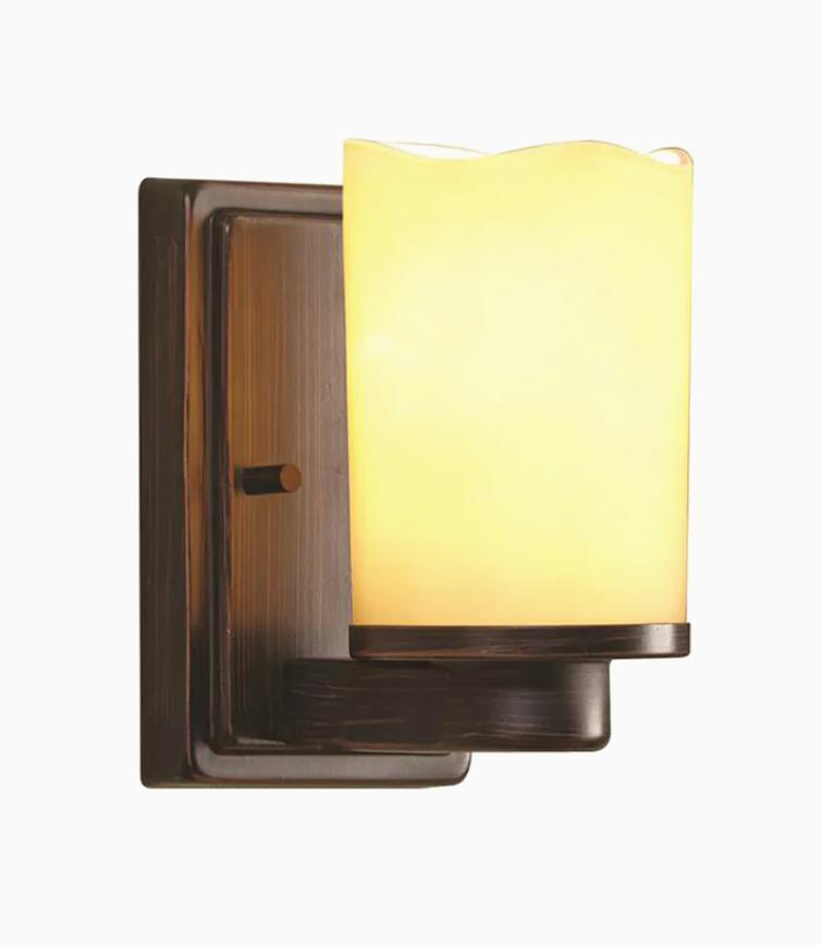 Allen+ Roth Wall Sconce - Tea Stained Shade / Oil Rubbed Bro