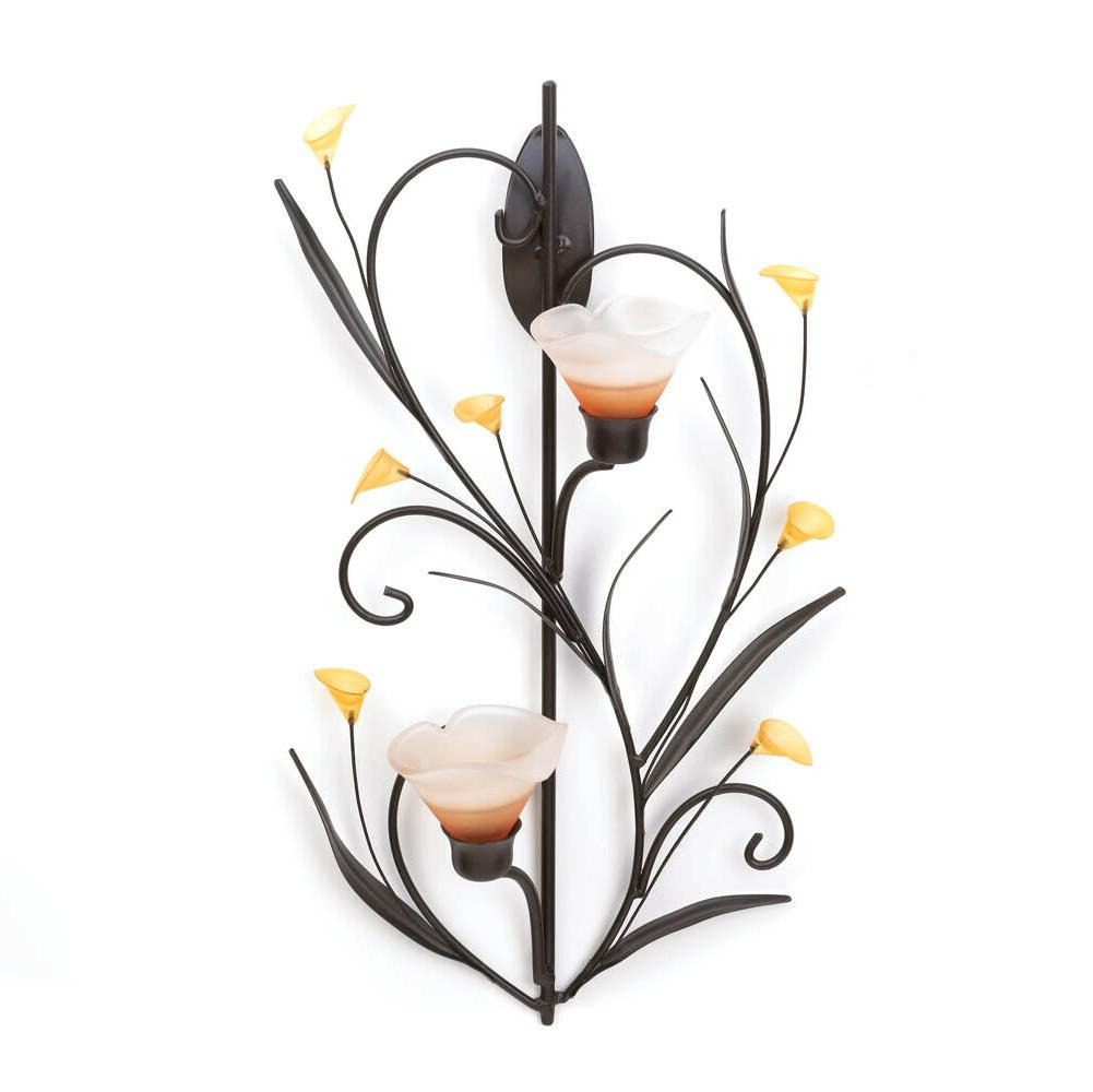Home Locomotion Amber Lilies Candle Wall Sconce