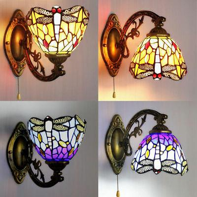 ​Amora Tiffany Style Multi-Color Dragonfly Stained Glass W