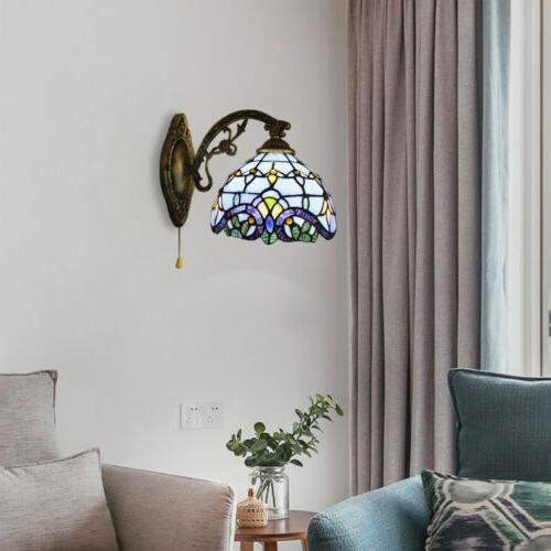 Tiffany Sconce Brass Baroque Stained Lamp Wall
