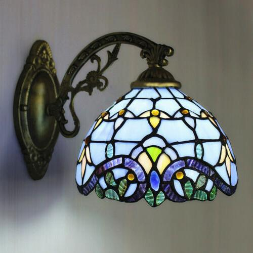 tiffany sconce brass vintage baroque stained glass