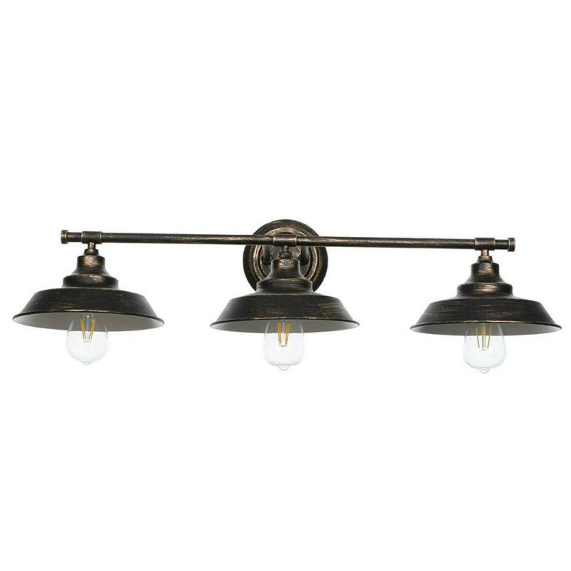 3 Oiled Bronze Wall Sconce Bathroom Fixture Mount Shade