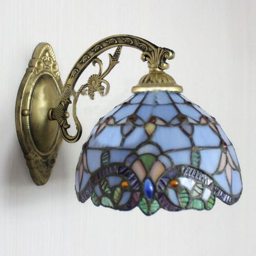 Blue Baroque Tiffany One-light Light with Pull