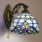 Blue Baroque Stained Glass Tiffany One-light Wall Sconce Lig