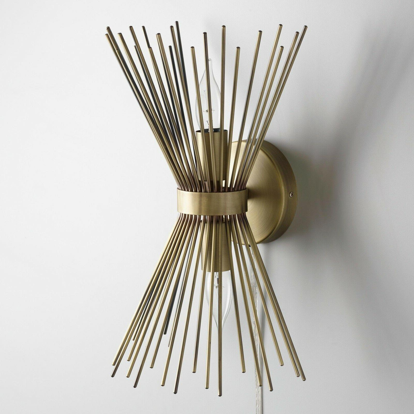 Brass Sconce Lamp, Cord, Hardwire