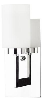 Brio Wall Sconce Light Fixture – Chrome w/Frosted Glass Sh