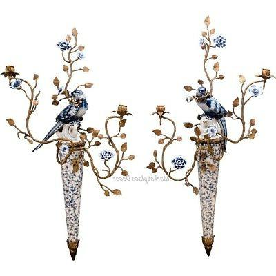 Bronze Ormolu Blue White Bird Porcelain Wall Sconce Candle H