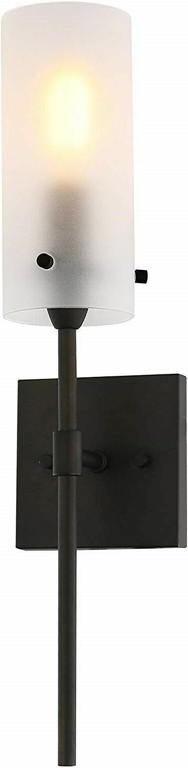 Bronze Wall Light Sconce Vanity Glass Frosted