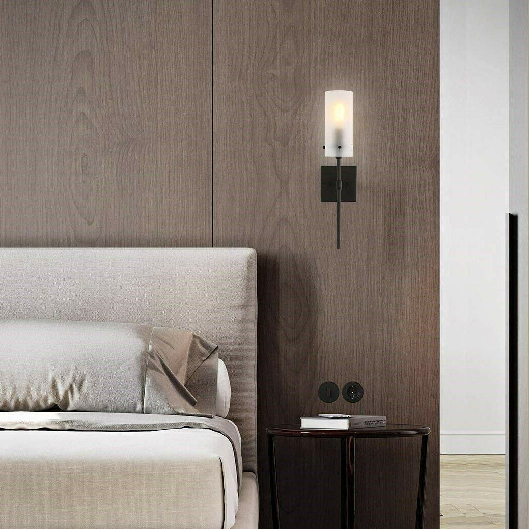 Bronze Fixture Sconce Modern Glass Frosted Indoor