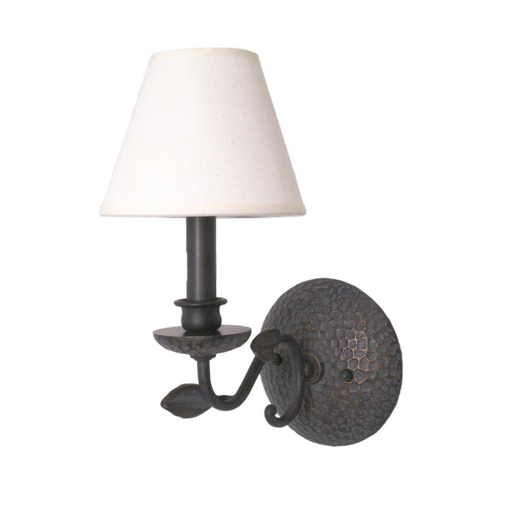 Bronze Wall Sconce With Fabric Shades