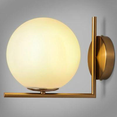 Contemporary Simple White Globe Glass Shade LED Indoor Wall