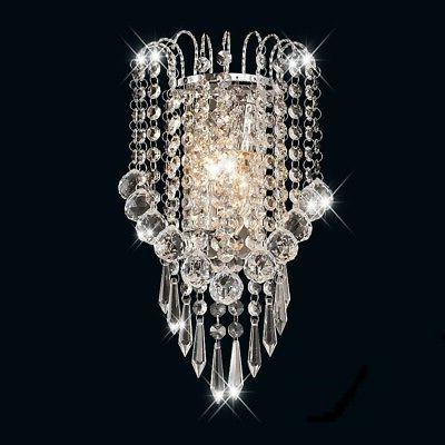 Crystal Wall Sconce Light Fixture Modern Chrome Lamp Vanity