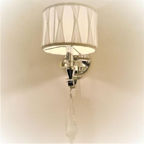 Cutlass Chrome Clear Wall Sconce White Fabric