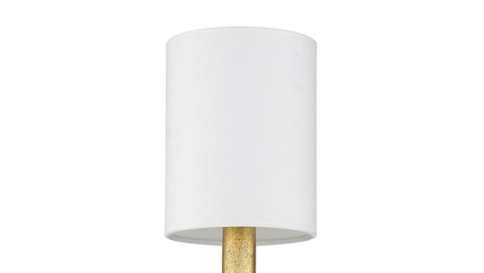 "Distressed Gold 20""H White Shade Fixture"