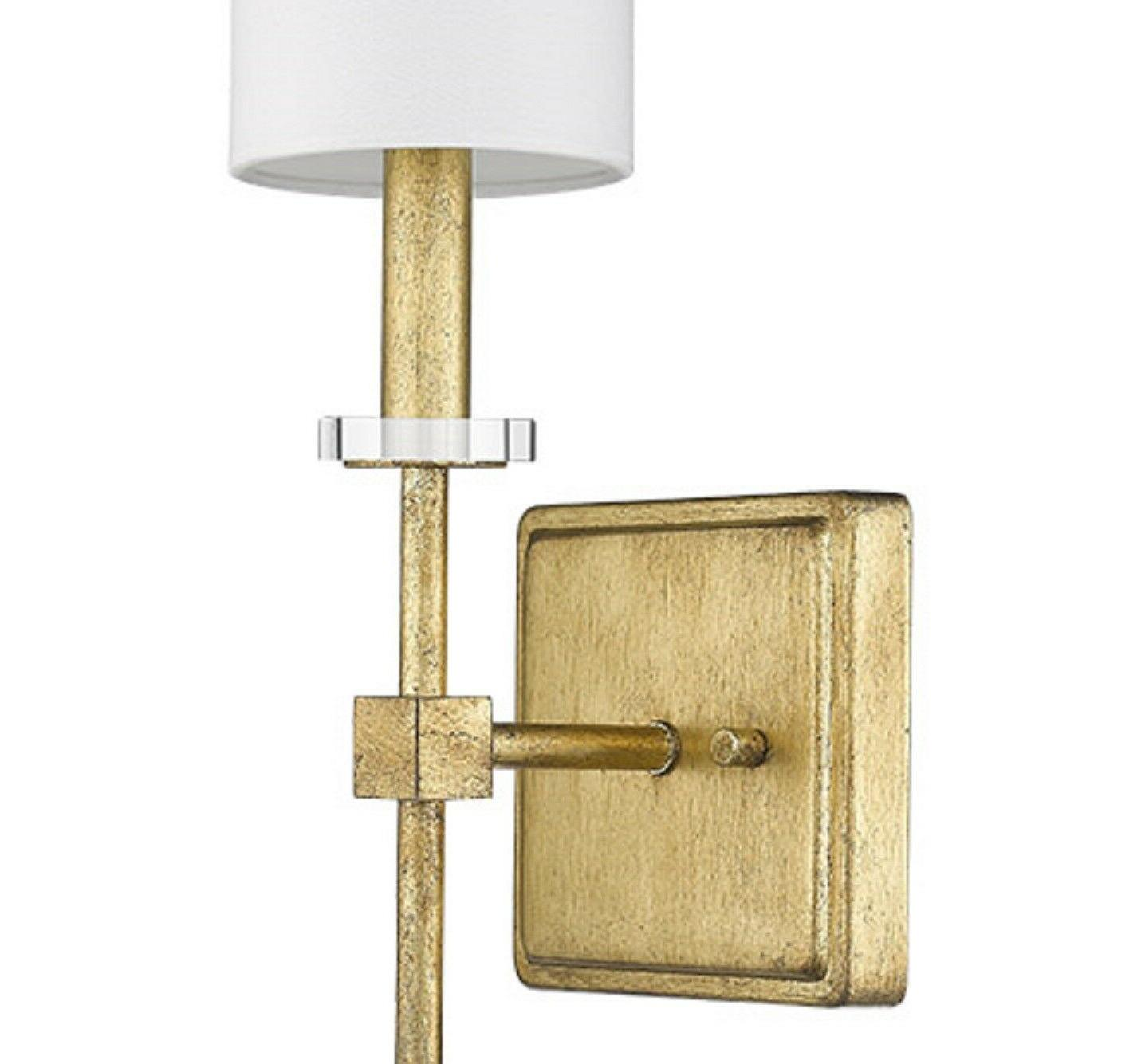 "Distressed Gold 1-Light Sconce 20""H White Shade Wall Fixture Square"
