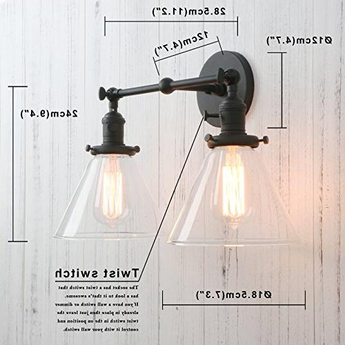 Permo Sconce Industrial Antique 2-Lights Sconces Glass Glass Shade
