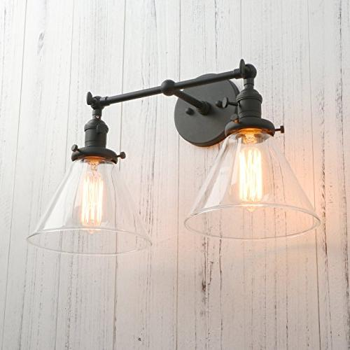 Permo Double Sconce Industrial Antique Sconces Funnel Glass Clear