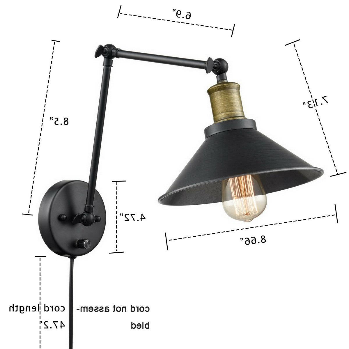 Double Arms Light with Switch Knob Sconce