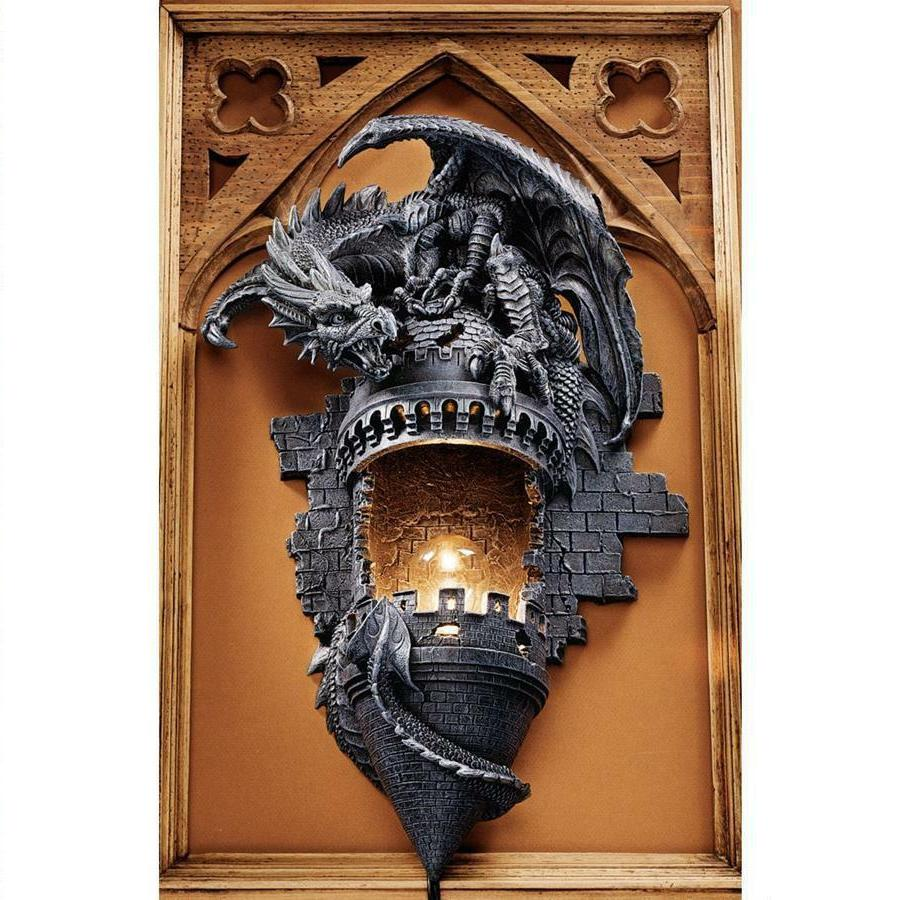 quality design 1cc0b 8c88e Design Toscano Dragon's Castle Lair Illuminated Wall Sconce
