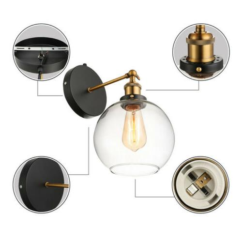 Farmhouse Glass Globe Wall Mount Sconce Lighting Wall In