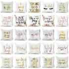 gold print letter polyester pillow case sofa