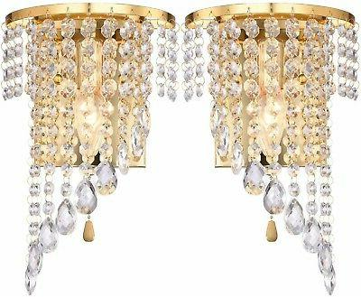 gold wall sconce light fixture modern crystal