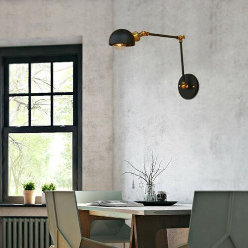Industrial Swing Arm Dome Shade Wall Sconce Light Metal Bedr