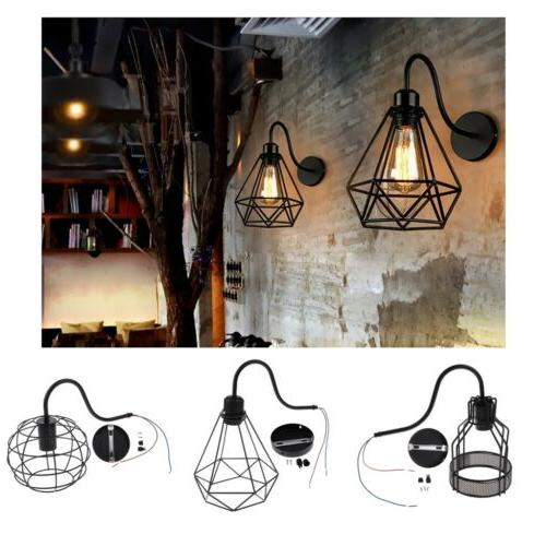 Industrial Black Wall-mounted Light Cage Wall Sconce Shades