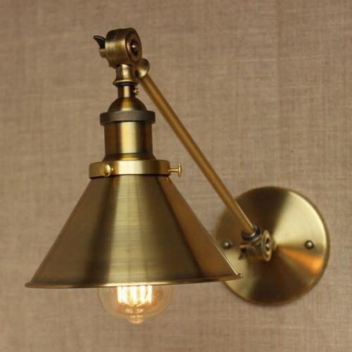 Brass Vintage Industrial Wall Light Sconce Swing Arm Adjusta