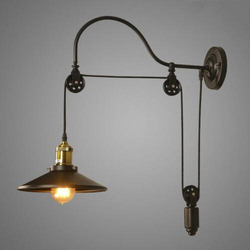 Industrial Wall Mounted Gooseneck Light Fixture Pulley Refle