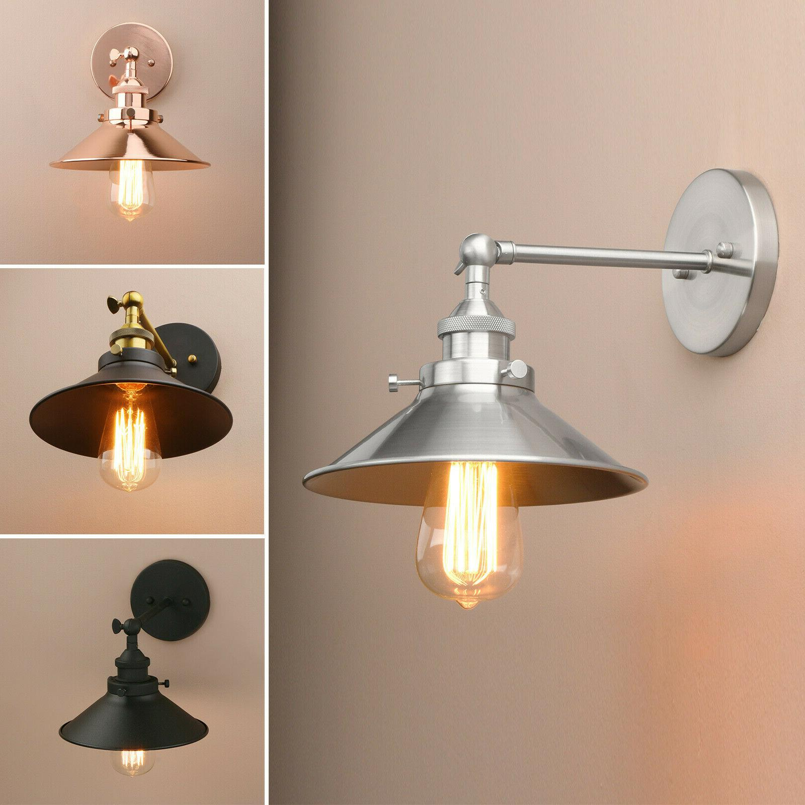 industrial wall sconce iron shade lamp vintage
