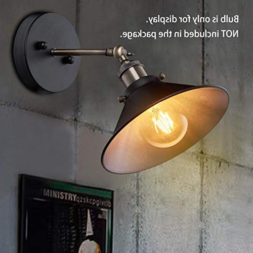 Industrial Vintage Simplicity Wall Lamp, Arm Light with Black Shade Bathroom,