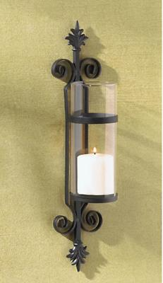 large Black iron Artisanal Sconce french WALL mount hurrican