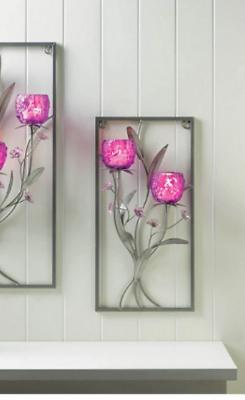 large PURPLE fuchsia silver  modern art wall sconce Votive f
