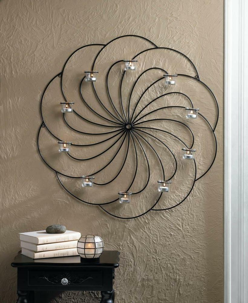 large round swirl burst circle Black Artisanal Sconce WALL m