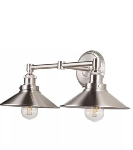 led industrial 2 light wall sconce brushed