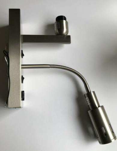LED Stainless Steel Sconce Power Outlet and USB Port