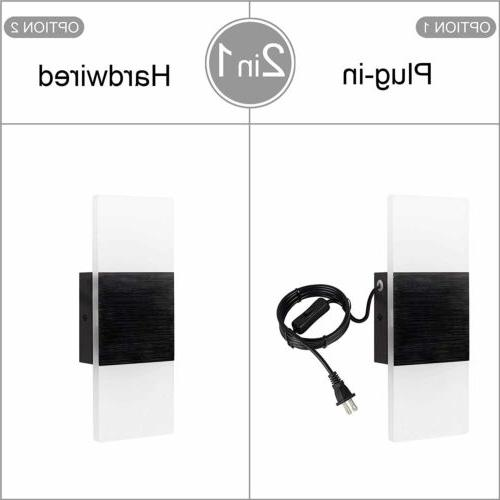 LED Wall Light Wall Sconce Plug with on/Off Lamp black