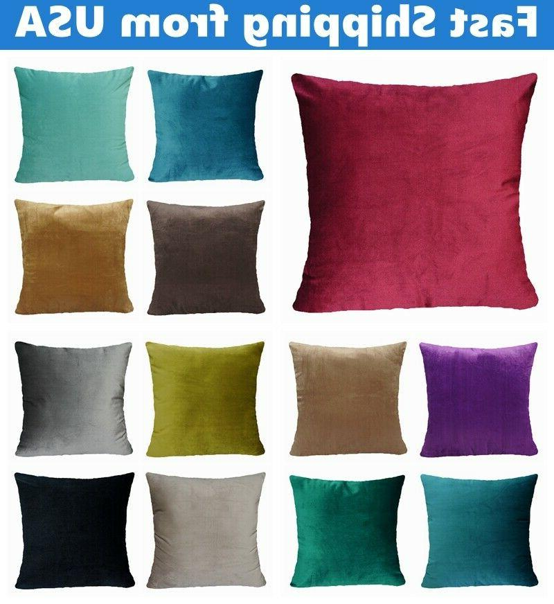 "16x16"" Soft VELVET Solid Multi-Color Throw PILLOW COVER Sofa"