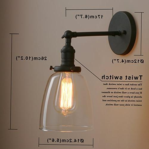 Pathson Fixtures with Vintage Wall Lamp with Metal Base and Clear Glass Farmhouse Porch Cafe Club