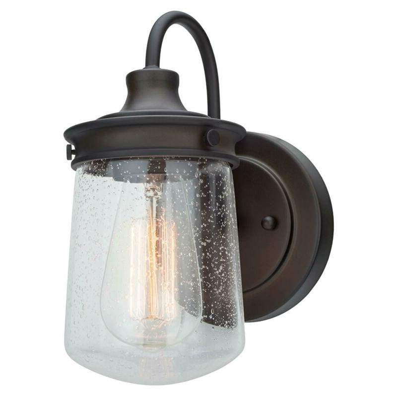 "Kira Home Mason 10"" Industrial Wall Sconce, Seeded Glass Sha"