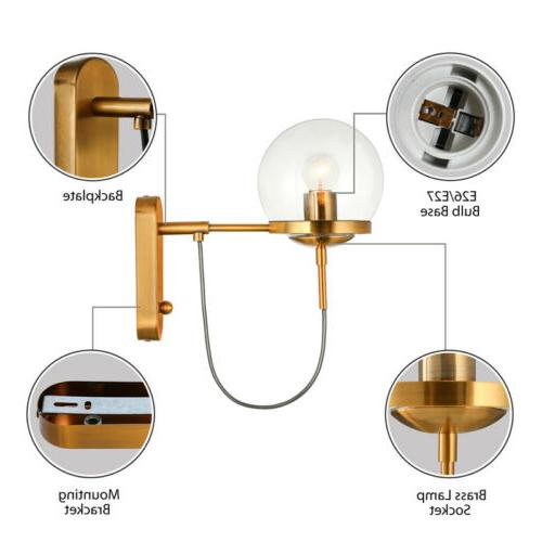 Nordic Style Globe Wall Brass Wall Light Fixture Bedroom