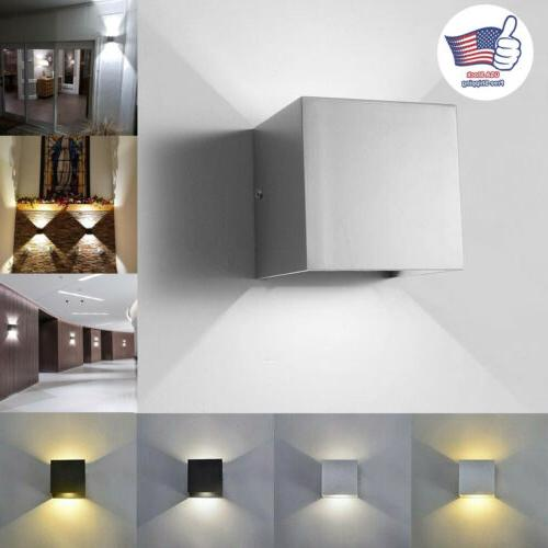 Modern COB LED Wall Light Up Down Cube Indoor Outdoor Sconce