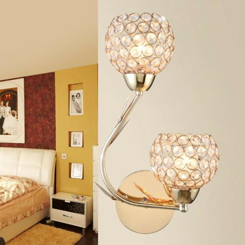 Modern LED Crystal Wall Lamp Sconce Light Bulb Bedroom Bedsi