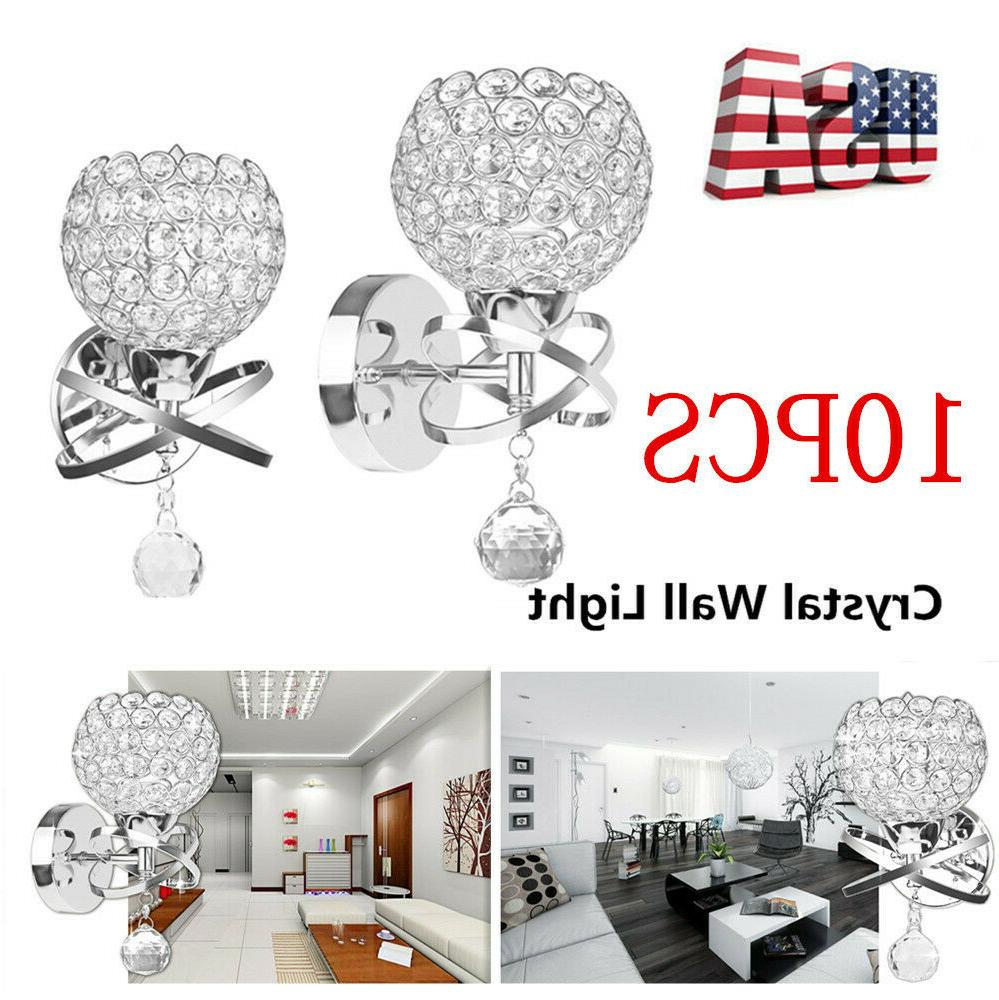 LED Modern Crystal Small Wall Lamp Sconce Light Bedroom Beds